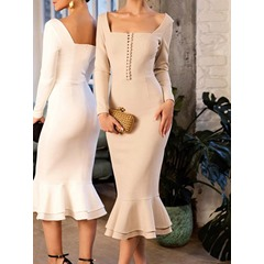 Button Square Neck Mid-Calf Ladylike Women's Dress