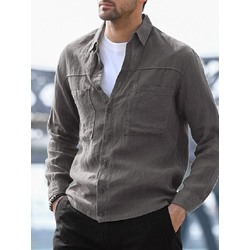 Plain Simple Lapel Single-Breasted Loose Shirt