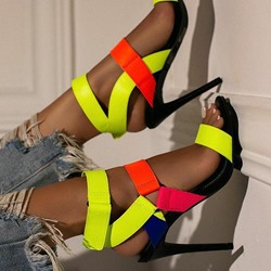 Shoespie Trendy Stiletto Heel Open Toe Velcro Patchwork Sandals
