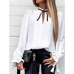 Stand Collar Plain Patchwork Women's Blouse