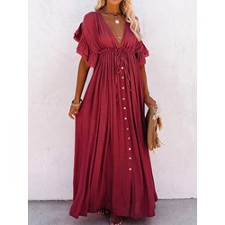 V-Neck Button Half Sleeve Fall Women's Dress