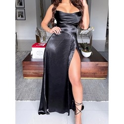 Split Floor-Length Spaghetti Strap Women's Dress