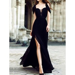 Short Sleeve Split Floor-Length Dress Women's Dress