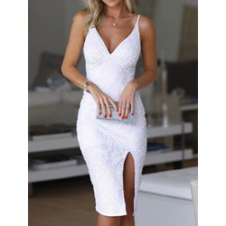 Mid-Calf Embroidery Sleeveless Bodycon Women's Dress