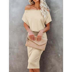 Mid-Calf Short Sleeve Off Shoulder Bodycon Women's Dress