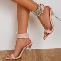 Shoespie Trendy Velcro Square Toe Stiletto Heel Rhinestone Sandals