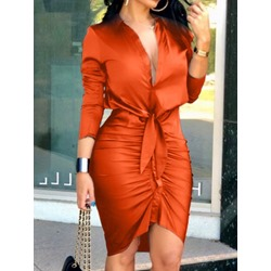 Knee-Length Nine Points Sleeve Asymmetric Single-Breasted Women's Dress