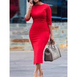 Mid-Calf Three-Quarter Sleeve Pullover Women's Dress