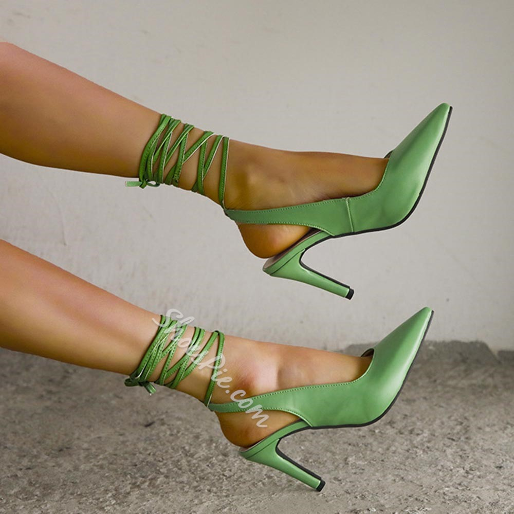 Shoespie Stylish Stiletto Heel Lace-Up Pointed Toe Plain Sandals