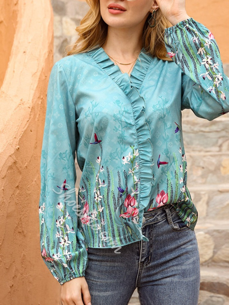 V-Neck Stringy Selvedge Floral Long Sleeve Women's Blouse