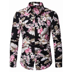 Lapel Floral Casual Fall Single-Breasted Shirt