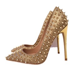 Shoespie Trendy Pointed Toe Stiletto Heel Rivet Professional Thin Shoes