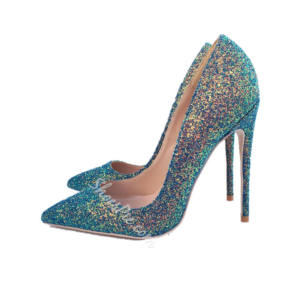 Shoespie Trendy Pointed Toe Stiletto Heel Sequin Professional Thin Shoes