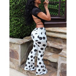 Polka Dots Print Bellbottoms Skinny Women's Jeans