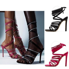 Shoespie Trendy Lace-Up Square Toe Stiletto Heel Casual Sandals