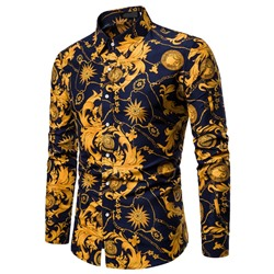 Lapel Casual Floral Slim Fall Shirt