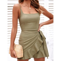Lace-Up Above Knee Square Neck Sexy Women's Dress
