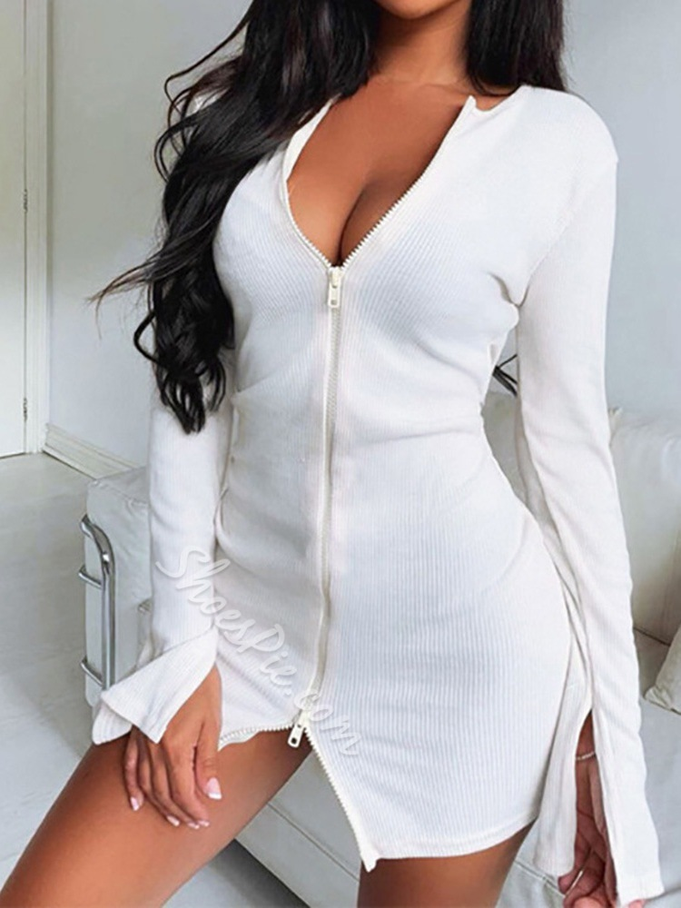 Long Sleeve Above Knee Zipper Sexy Women's Dress