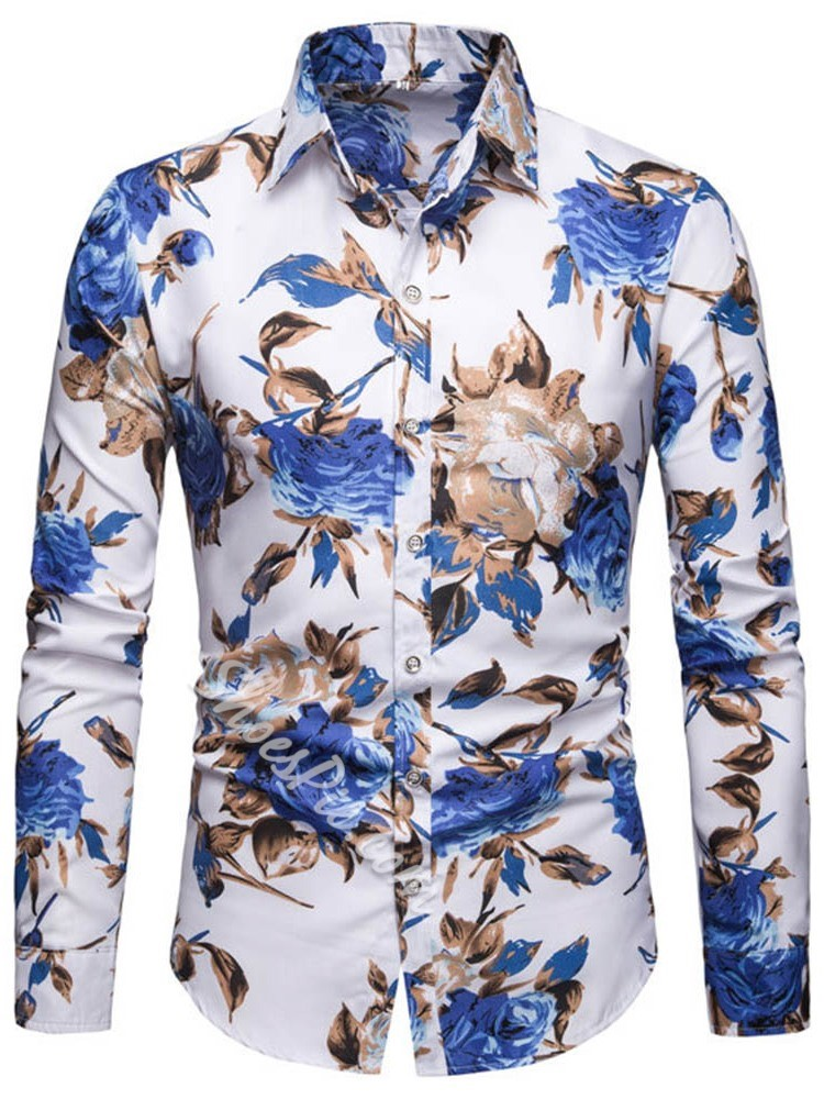 Floral Print Lapel Single-Breasted Spring Shirt