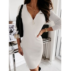 Long Sleeve Above Knee Patchwork Bodycon Women's Dress