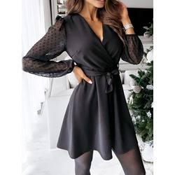 Long Sleeve Lace-Up V-Neck A-Line Women's Dress