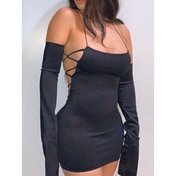 Above Knee Long Sleeve Backless Sexy Women's Dress