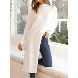 Split Stand Collar Long Sleeve Korean Women's Dress