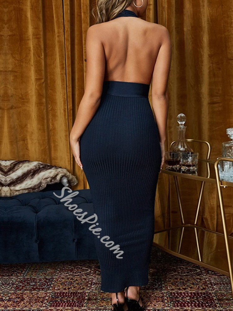Backless Ankle-Length Sleeveless Halter Women's Dress