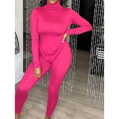 Polyester Fluorescent Color Full Length Long Sleeve Clothing Sets