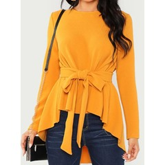 Lace-Up Regular Round Neck Mid-Length Women's Blouse
