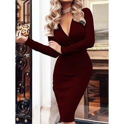 V-Neck Mid-Calf Long Sleeve Plain Women's Dress