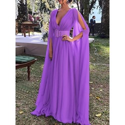 Floor-Length Long Sleeve V-Neck Summer Women's Dress