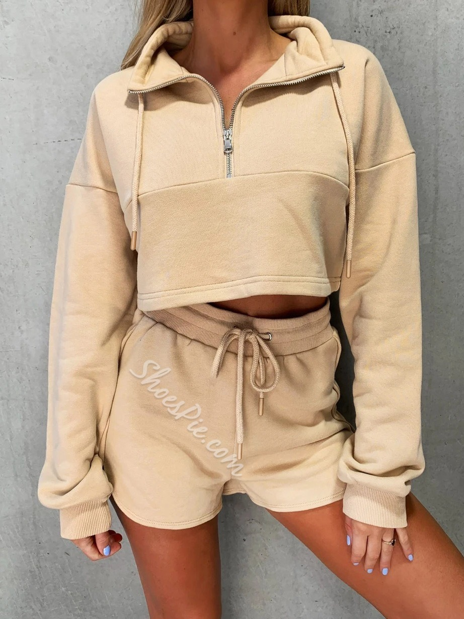 With Hood Polyester Long Sleeve Shorts Clothing Sets
