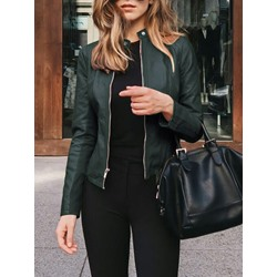 Faux Leather Slim Standard Women's PU Jacket