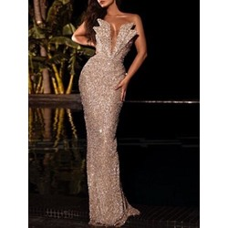 Floor-Length Sequins Sleeveless Bodycon Women's Dress