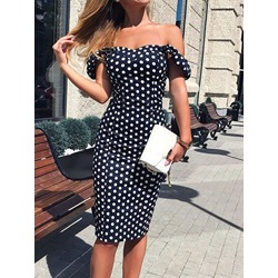 Mid-Calf Patchwork Short Sleeve Polka Dots Women's Dress