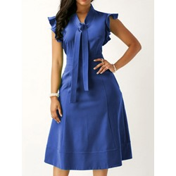 Mid-Calf Cap Sleeve Plain Women's Dress