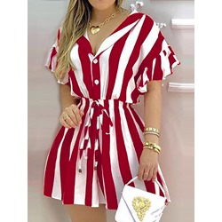 Above Knee Short Sleeve Button Pullover Women's Dress