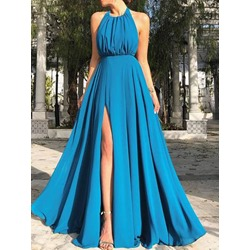 Backless Floor-Length Sleeveless Halter Women's Dress