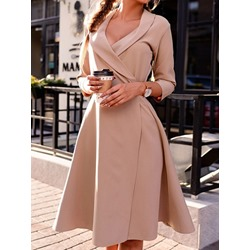 Knee-Length Three-Quarter Sleeve Pullover Women's Dress