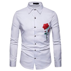 Lapel Floral Embroidery Slim Spring Shirt