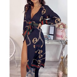 Lace-Up Long Sleeve V-Neck Western Women's Dress