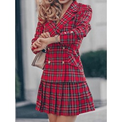 Button Fashion Plaid Pleated Women's Two Piece Sets