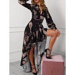Floor-Length Long Sleeve Button Asymmetrical Women's Dress