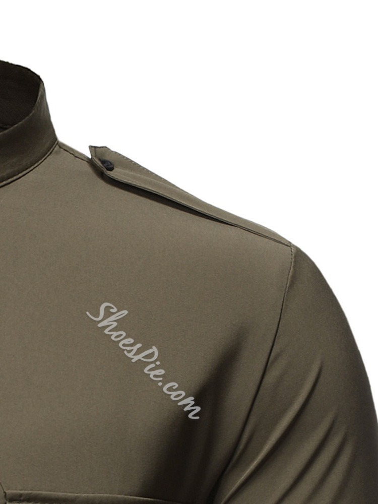 Plain Stand Collar OL Fall Single-Breasted Shirt