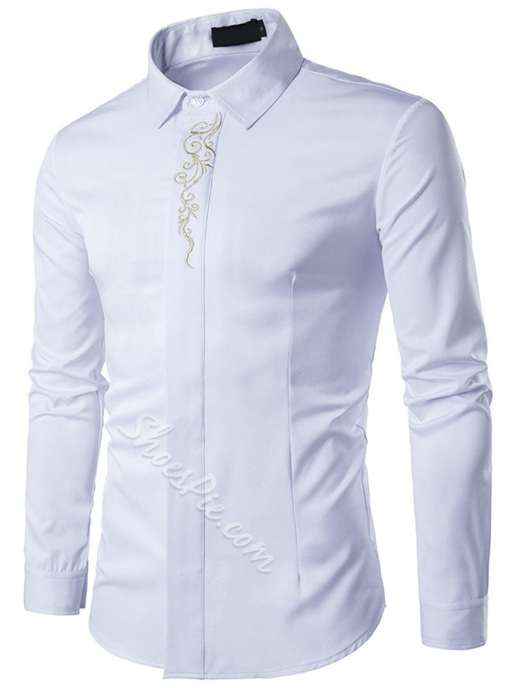 Lapel Embroidery Floral Spring Slim Shirt