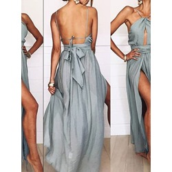Backless Sleeveless Floor-Length Halter Women's Dress