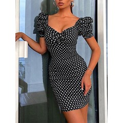 Print Short Sleeve Above Knee Polka Dots Women's Dress