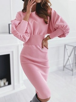 Nine Points Sleeve Mid-Calf Patchwork Pullover Women's Dress