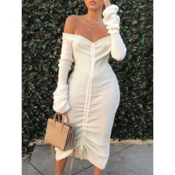 Mid-Calf Long Sleeve Pleated Pullover Women's Dress